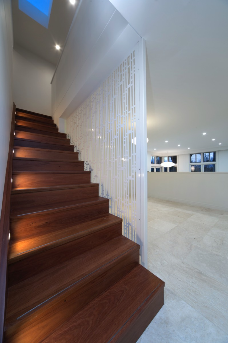 timber stairs tiled floor